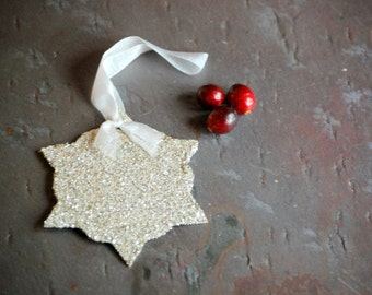 Ornament Favor Gift Tag with Silver German Glass Glitter Teacher Gift Hostess Gift Christmas Ornament Exchange Party