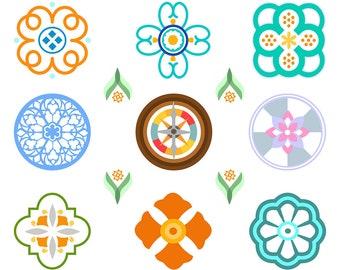 Decorative Element Clipart, Bohemian Clipart, Boho Clipart, Mandala Clipart, Medallion Clipart, Moroccan Clipart, Digital Download