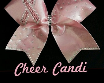 "Rhinestone Light Pink Limited Edition Breast Cancer Awareness 3"" Bow"