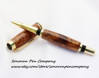 Baron Curly Mesquite wood Rollerball pen