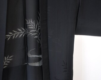 Japanese short kimono robe/silk haori/black kimono jacket cardigan top/summer light boho bohemian robe top jacket