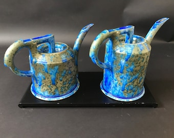 Pair of Contemporary Ceramic Art Watering Pots by Anne Hirondelle Signed