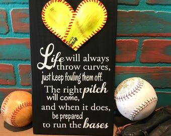 Life will always throw curves just keep fouling them off,  Baseball Gift, Softball Gift, Inspirational Quote, Baseball Heart Yellow Softball