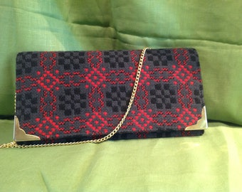 Vintage Welsh Tapestry Clutch Chain Strap
