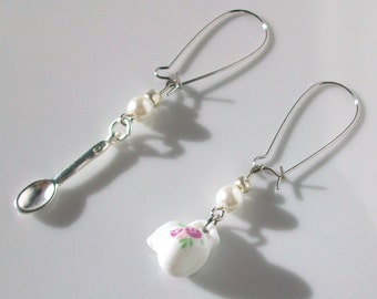 Pitcher and spoon pink and white ear wire earrings