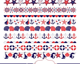 nautical digital borders nautical clipart digital bunting banners rh etsystudio com Nautical Anchor Clip Art Nautical Theme Clip Art