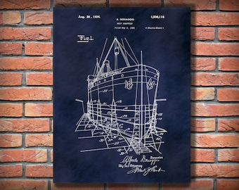 Patent 1924 Ship Scaffold Patent Print Poster - Nautical Wall Art - Naval Wall Art - Ship Wall Art - Ships Scaffolding