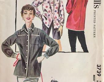 """Vintage 1956 Misses' Jacket Shirt Pattern 3739 Size 14 (32"""" Bust)"""