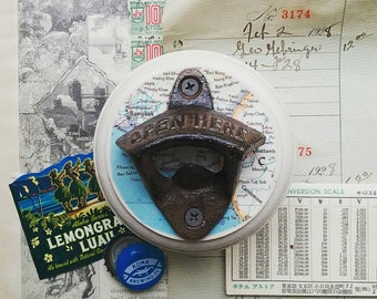 Map Bottle Opener, Wall Mount Beer Opener Made From a Vintage Map of Bangkok, Thailand, Rustic Bar Accessories, Unique Gift Idea