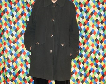 Vintage 80's Dark Green Wool Coat