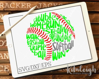 Messy Softball INSTANT DOWNLOAD in dxf, svg, eps for use with programs such as Silhouette Studio and Cricut Design Space