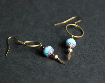 Turquoise bronze earrings, czech glass cathedral bead, boho style, bronze brass hoop, facet, ear wire, gift for her