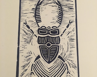 Linogravure - scarabée