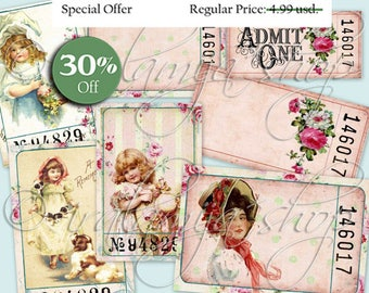 ANTIQUE TICKETS Collage Digital Images -printable download file-
