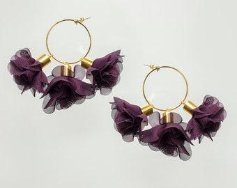 Statement Jewelry Statement Earrings Gold Hoop Earrings Floral Earrings Boho Earrings Gold Earrings Boho Jewelry / CICIRA