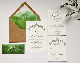 Olive Wedding Invitation Suite, Personalised Wedding Stationery, Printable Digital PDF