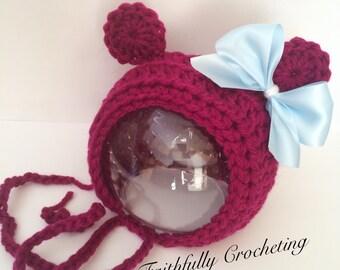 Newborn bear bonnet.. Photography prop.. Ready to ship