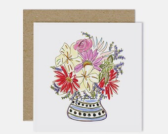 Small Vase / Floral Illustration Greeting Card