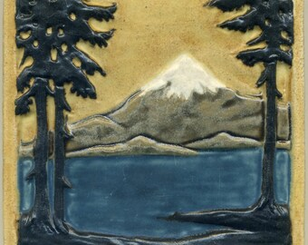 """Craftsman style Mountain Tile with Fir / Pine Trees and Water -- 6"""" Square - Buff Sky - Handmade Art Tile - Nature Scene"""