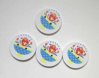 Painted Floral Basket Buttons - Four  - (4)