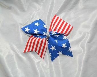Patriotic American Flag Cheer Bow Hair Bow