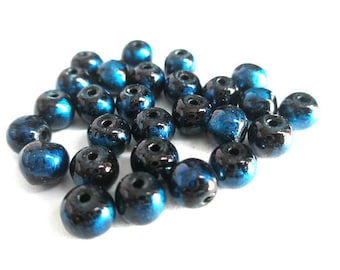 20 beads black speckled blue glossy glass 6mm