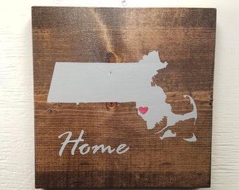 "Pick State, Pick colors, Custom, Wooden State Sign, Massachusetts, 11.25""x11.25"""