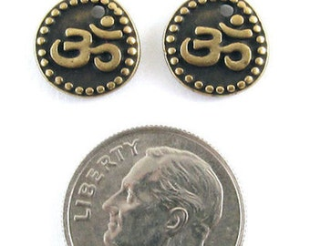 TierraCast Pewter Om Coin Charms-2-SIDED Brass Oxide OHM AUM (2)