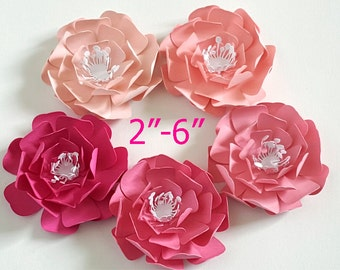 3D Pink Paper flowers/ wedding and party flowers / 2-6 inch pink paper flowers/ set of 10 flowers