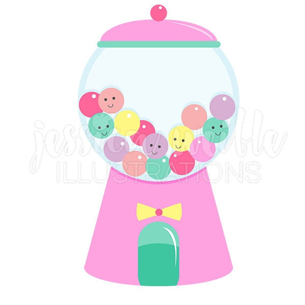 girly gumball machine cute digital clipart gumball clip art rh etsy com Gumball Machine Clip Art Outline Gumball Machine Clip Art Black and White