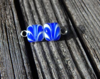 Blue Ribbon Barrels, pair, Simply Lampwork by Nancy Gant, SRA G55