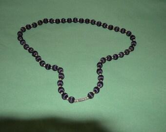 ON SALE  Vintage Black Bead Necklace