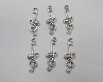 6 charms stainless steel music note 3 x 1