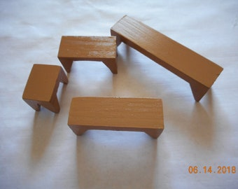 Dollhouse miniatures,set of 4, WOODEN BENCHES,wooden stools/tables,painted brown