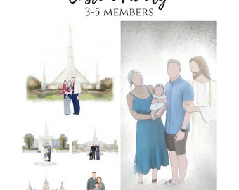 Custom Family Drawing, 3-5 Members, Custom Portrait, Family Portrait, Family Illustration, Faceless Family, Christ With Family, LDS TEmple