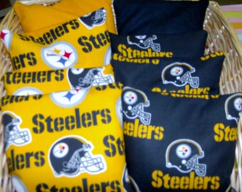 8 Pc Set of Double Pittsburg Steelers Cornhole Game Bags