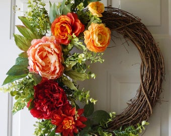 Summer Wreath, Spring Summer Fall Wreath, Door wreath, Red Orange Peach Yellow wreath , Peonies Mum Wreath