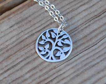 Small sterling silver family tree necklace, family tree necklace, silver tree necklace, silver family tree