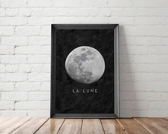 La Lune, Moon Poster, Wall Art, Full Moon Printable, Affiche Scandinave