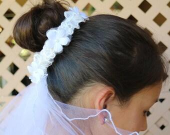 Floral Lace Bun Crown Veil