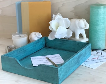Distressed Letter Tray (Teal)