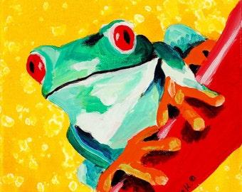 Children's Room Art Print - Green Tree Frog - 12 x 12 print