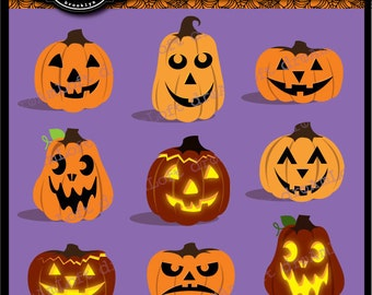 Halloween Clip Art Jack-O-Lanterns for Personal and Commercial Use