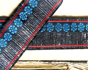 Beautiful vintage haute couture French jacquard ribbon trim, black, red, electric blue floral motif, folk, woven, sewing costume home decor