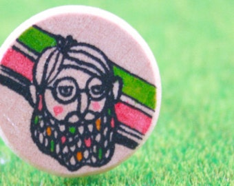 Wooden Ring - Hand Painted Illustration - Mr.Balebah 2cm(W) x 0.3cm(T)