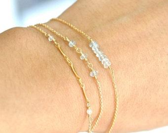 Set of 3: Aquamarine bracelets, March Birthday Gift,  Aquamarine gold bracelet, Wife Gift,  March Birthstone Jewelry, Aquamarine Jewelry