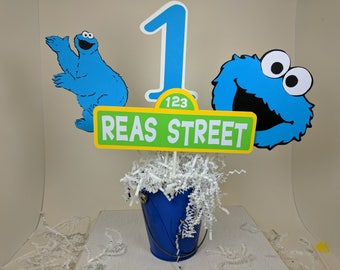 Cookie Monster Centerpiece, Cookie Monster Decor, Sesame Street Party, Cookie Monster Birthday Party