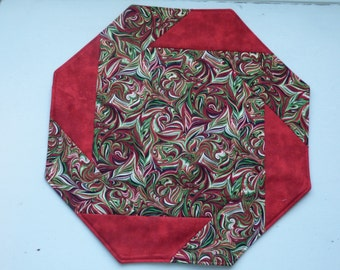 Holiday  Quilted Table Topper, Green, Red, Cream