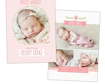 Birth announcement template -  Flower kisses  - E897