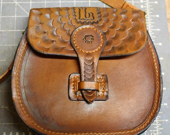 Leather saddle bag roses.stamped and tooled and monogrammed..Southern Charm Holsters